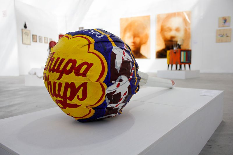 A big Chupa Chups. The Paratissima Exhibition takes place in