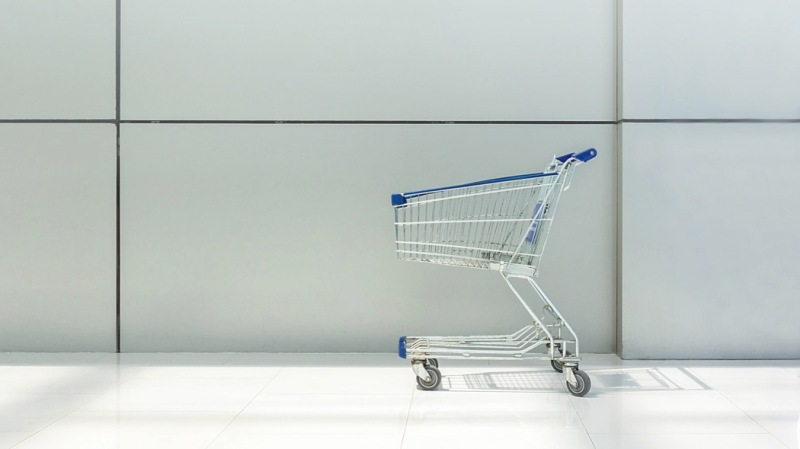 Shopping Cart Against Wall